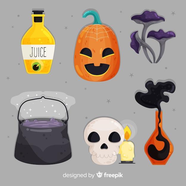 Insieme piano di halloween degli elementi svegli su fondo grigio Vettore gratuito