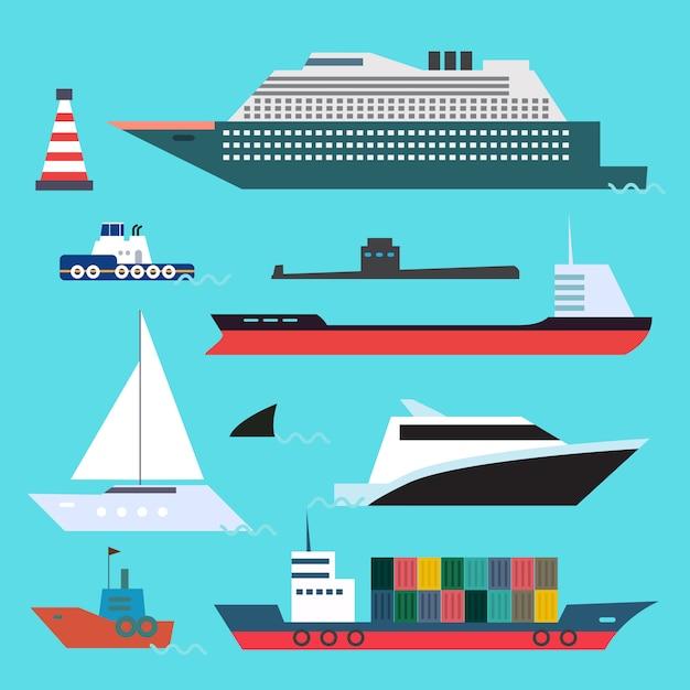 Insieme piano di stile di trasporto marittimo sul fondo dell'acqua blu. Vettore Premium