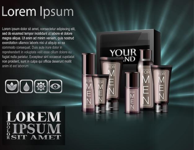 Insieme realistico degli uomini cosmetici con scatola del pacchetto Vettore Premium