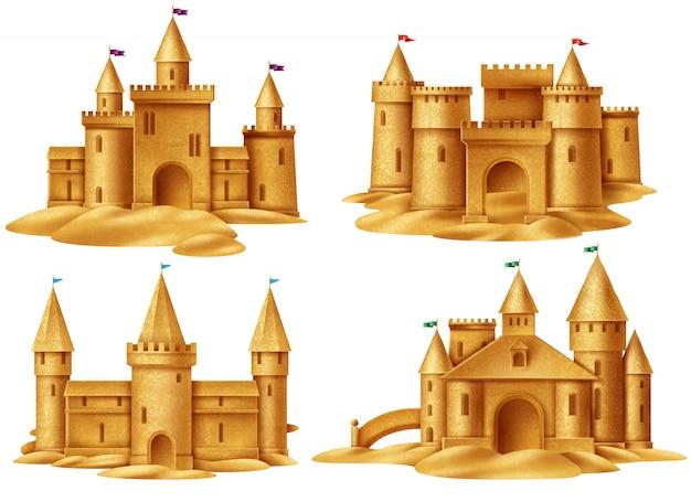 Insieme realistico del castello di sabbia Vettore gratuito