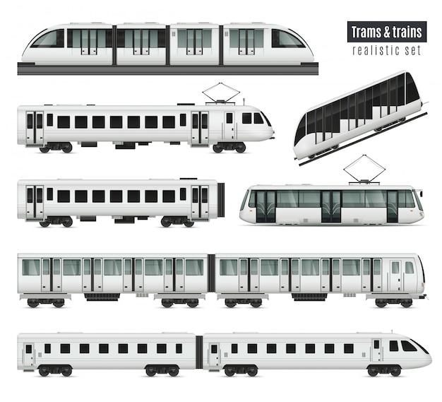 Insieme realistico del treno del tram del passeggero con le immagini isolate dei vagoni del trasporto pubblico e dell'illustrazione elettrica dei tram Vettore gratuito
