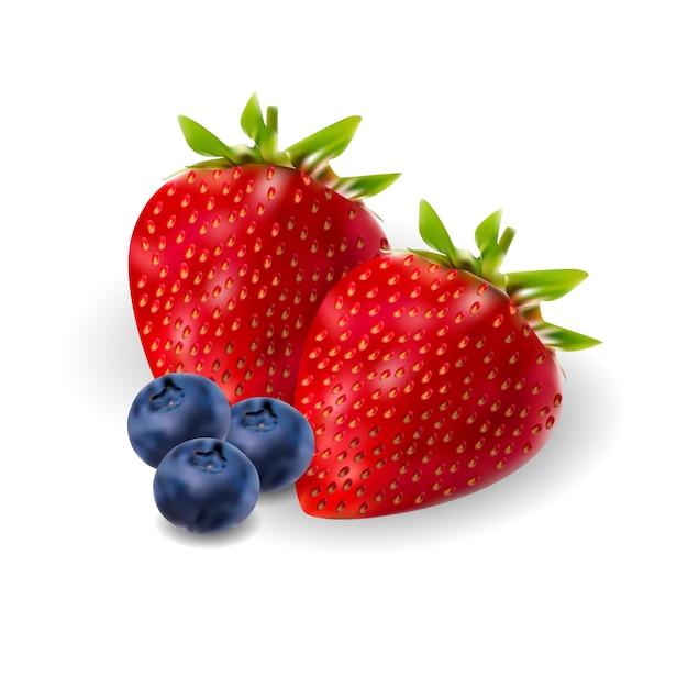 Insieme realistico della berrie della fragola e della mora. 3d Vettore Premium