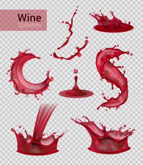 Insieme realistico della spruzzata del vino degli spruzzi isolati di vino rosso liquido con le gocce sull'illustrazione trasparente Vettore gratuito