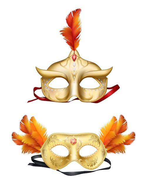 Insieme realistico delle maschere dorate di colombina 3d Vettore gratuito