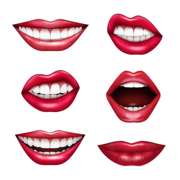 Insieme realistico di emozioni di linguaggio del corpo delle labbra di espressioni della bocca con il rossetto lucido rosso di attenzione del disegno isolato Vettore gratuito