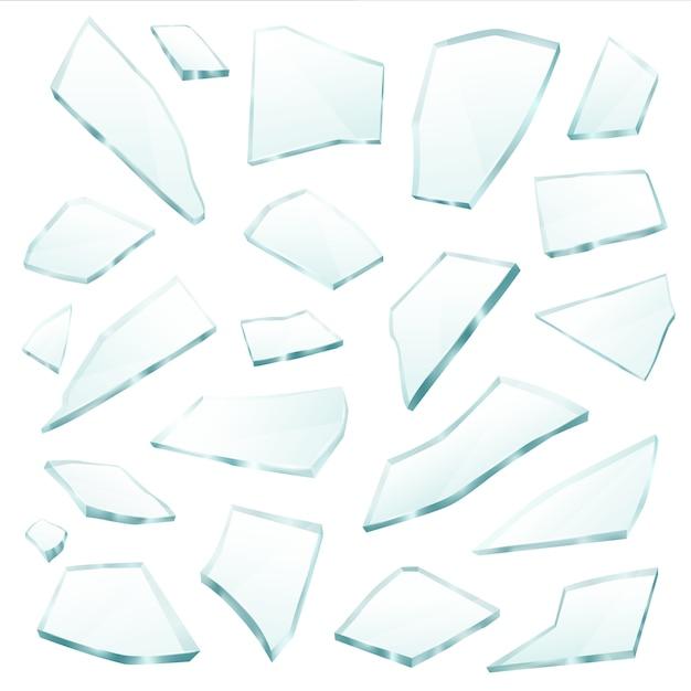 Insieme realistico di frammenti di frammenti di vetro rotto Vettore gratuito
