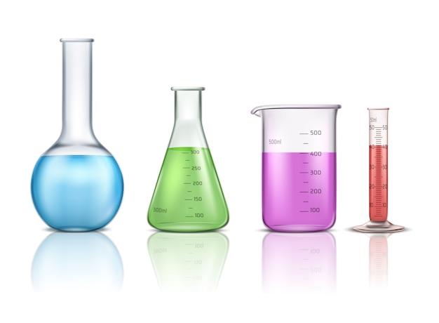 Insieme realistico di vettore dei cristalleria di laboratorio 3d isolato su fondo bianco Vettore gratuito
