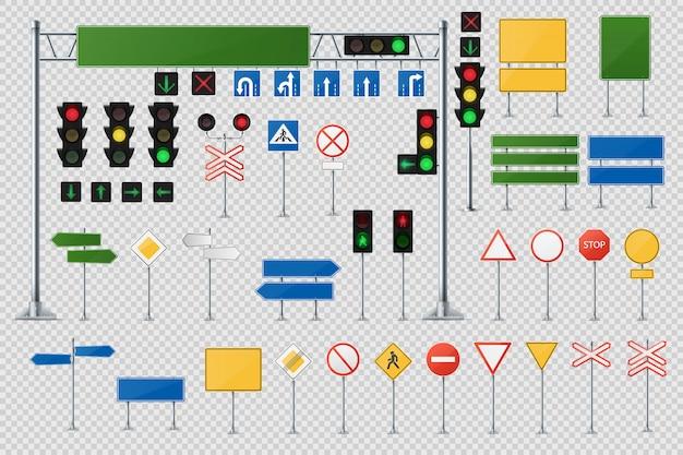 Insieme realistico di vettore dei segnali stradali e degli indicatori stradali Vettore Premium