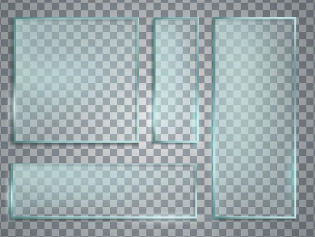 Insieme realistico di vettore del piatto di vetro verde. struttura di vetro con ombra e riflessi. Vettore Premium