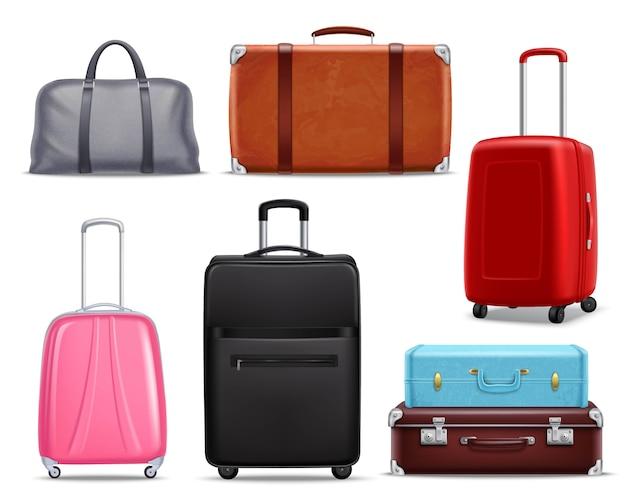 Insieme realistico moderno dei bagagli di viaggio retro Vettore gratuito