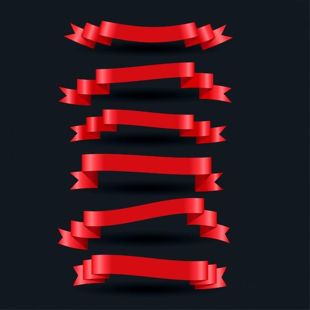Insieme realistico rosso lucido di nastri 3d Vettore gratuito