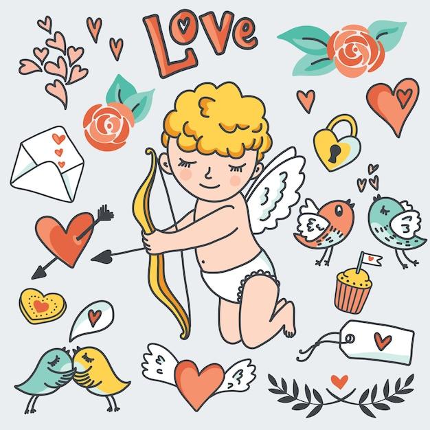 Insieme romantico del fumetto, cupido carino, uccelli, buste, cuori ed elementi. Vettore Premium