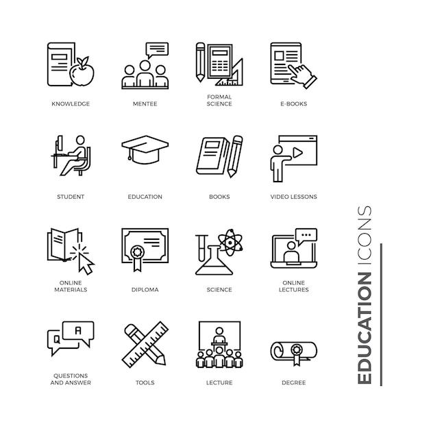 Insieme semplice dell'icona di istruzione, icone relative alla linea di vettore Vettore Premium
