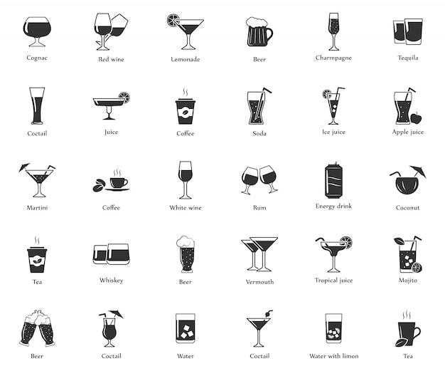 Insieme semplice delle icone delle bevande. Vettore Premium