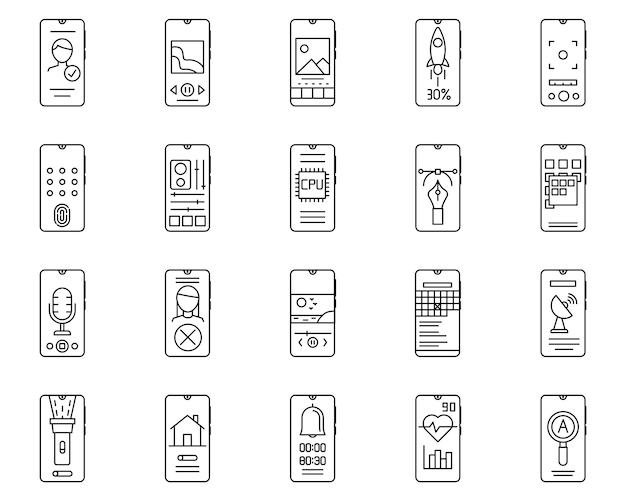 Insieme semplice delle icone di linea di vettore relative allo smartphone Vettore Premium