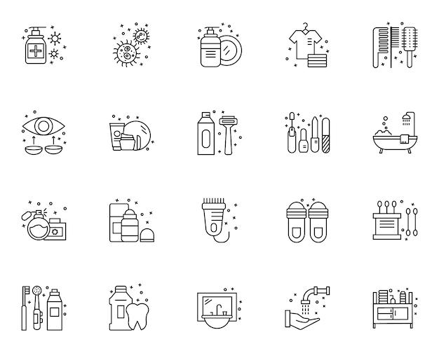 Insieme semplice delle icone relative agli elementi di igiene nella linea stile Vettore Premium