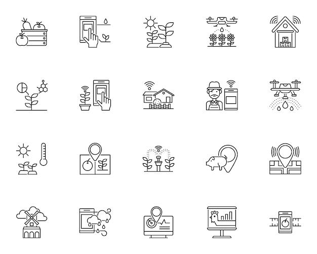 Insieme semplice delle icone relative alla fattoria intelligente in stile linea Vettore Premium