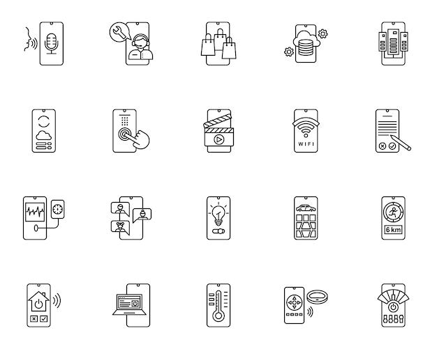 Insieme semplice delle icone relative alla tecnologia mobile nella linea stile Vettore Premium