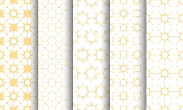 Insieme senza cuciture del modello islamico, struttura bianca e dorata Vettore Premium
