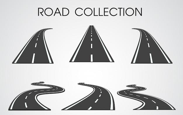 Insieme separato di curve e autostrade Vettore Premium