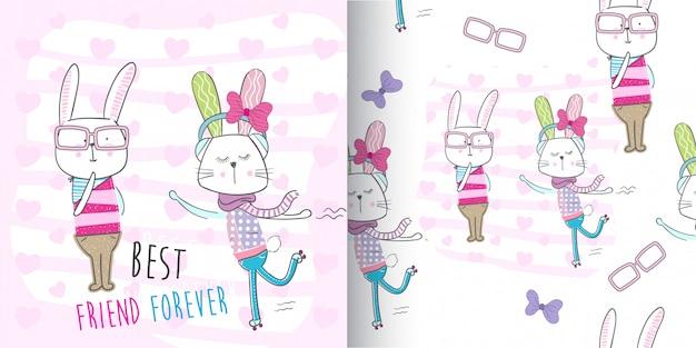 Insieme sveglio del modello del coniglietto, illustrazione-vettore di tiraggio della mano Vettore Premium
