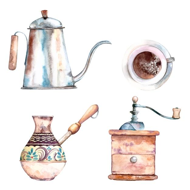 Insieme sveglio dell'acquerello di arti di clip degli elementi delle macchinette del caffè Vettore Premium