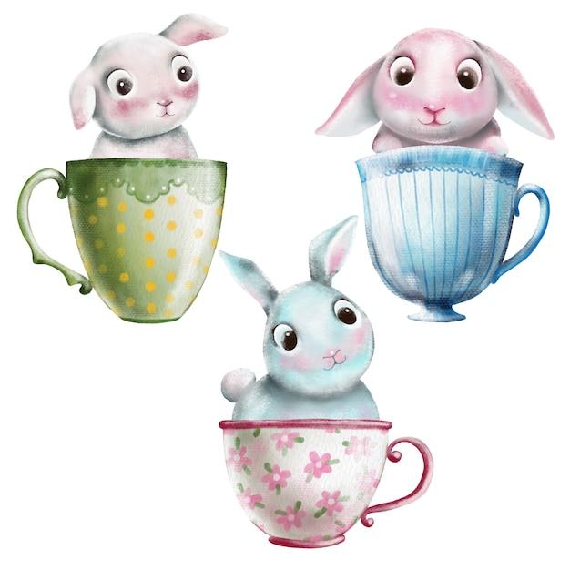 Insieme sveglio dell'acquerello di coniglietti in tazze da tè Vettore Premium