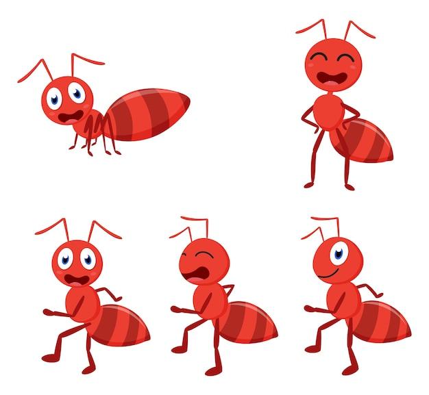 Insieme sveglio della raccolta del fumetto della formica del fumetto Vettore Premium