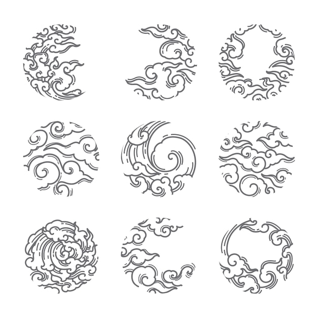 Insieme tradizionale di forma rotonda della nuvola asiatica. Vettore Premium