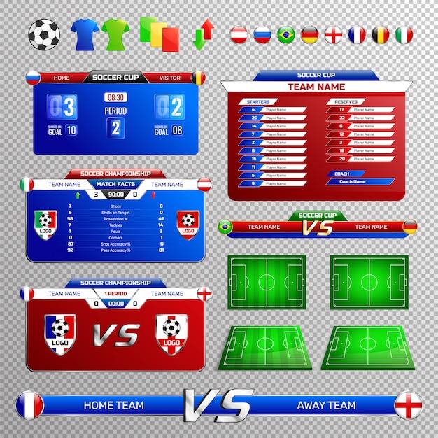 Insieme trasparente degli elementi di radiodiffusione di calcio Vettore gratuito