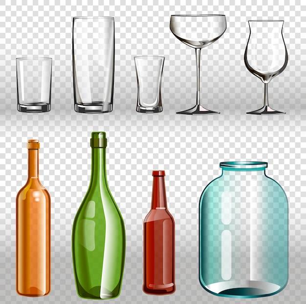 Insieme trasparente realistico 3d di ans delle bottiglie di vetro. Vettore Premium