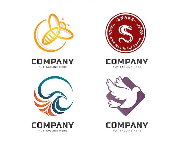 Insieme variopinto del modello di logo animale di affari Vettore Premium