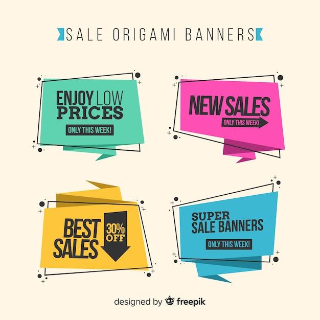 Insieme variopinto dell'insegna di vendita di stile di origami Vettore gratuito