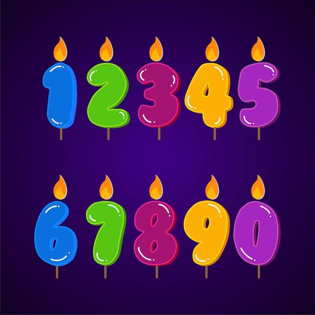 Insieme variopinto della raccolta della candela di compleanno di tutti gli elementi di numeri. Vettore Premium