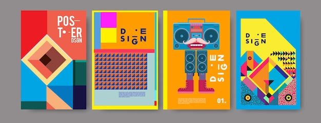 Insieme variopinto di disegno del collage del manifesto dell'annata Vettore Premium