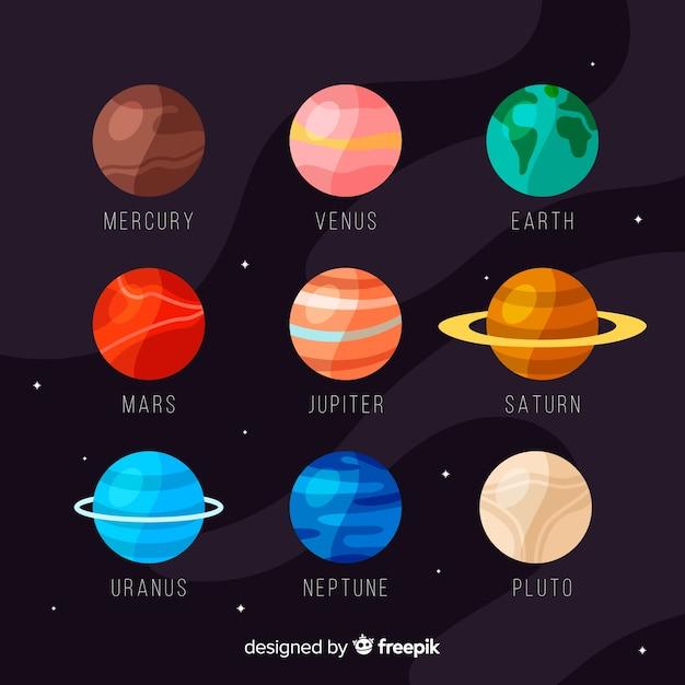 Insieme variopinto di pianeti piatti Vettore gratuito