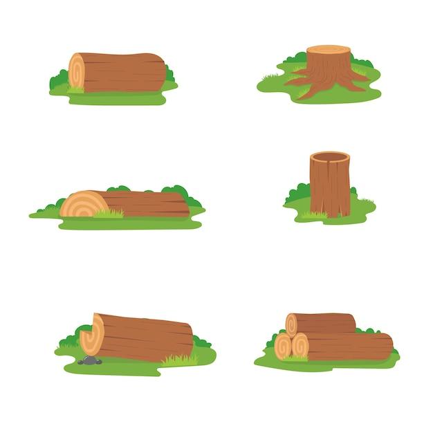 Insieme variopinto di progettazione dei ceppi di legno, illustrazione di legno dei tronchi su fondo bianco Vettore Premium