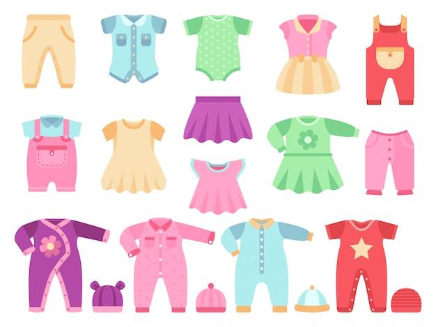 Insieme variopinto di vettore dei vestiti della neonata Vettore Premium