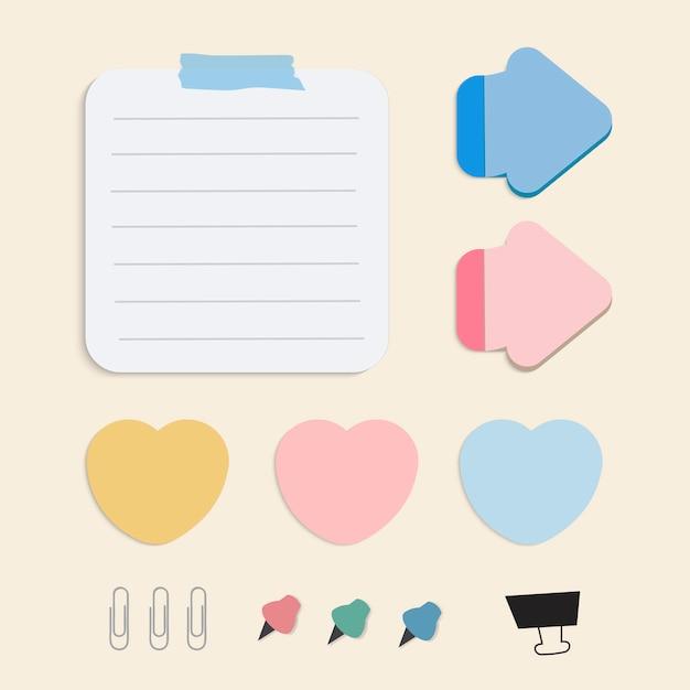 Insieme variopinto di vettore delle note di carta di ricordo Vettore gratuito