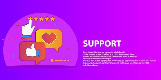 Insieme vettoriale del servizio clienti in stile piatto - feedback, sondaggi e supporto Vettore Premium