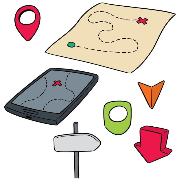 Insieme vettoriale di mappa e direzione posta Vettore Premium