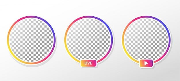 Instagram live. cornice del profilo del cerchio sfumato per lo streaming live sui social media. Vettore Premium