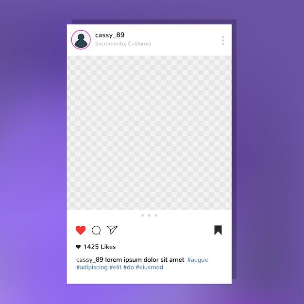 Instagram post frame template Vettore gratuito