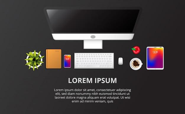Installazione del computer web, telefono, notebook, pianta, vista dall'alto di caffè. modello di testo Vettore Premium