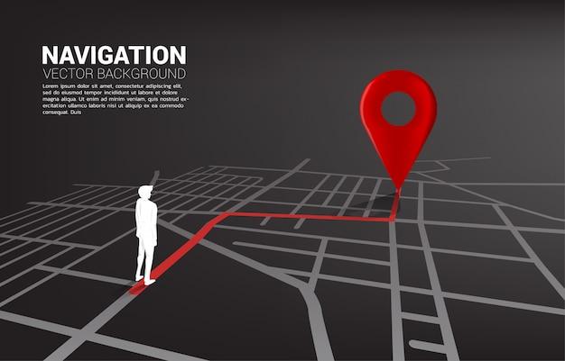 Instradare tra gli indicatori di posizione 3d e l'uomo d'affari sulla cartina stradale della città Vettore Premium