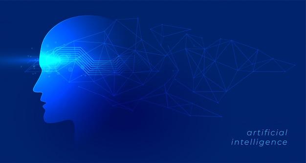 Intelligenza artificiale e sfondo di tecnologia di concetto di apprendimento automatico Vettore gratuito