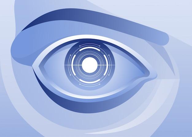 Intelligenza artificiale, occhi azzurri Vettore Premium