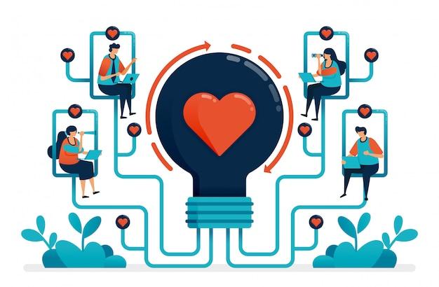 Intelligenza artificiale per abbinare partner e relazione. idee per il matchmaker. Vettore Premium