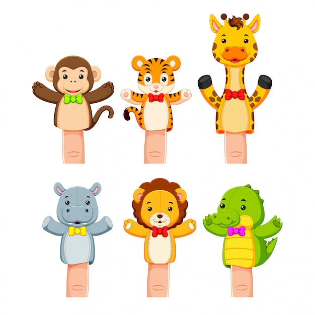 Interessante collezione di burattini di animali selvatici Vettore Premium