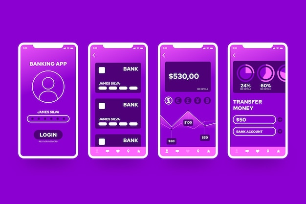Interfaccia dell'app bancaria Vettore gratuito